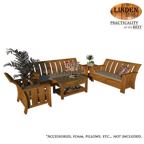 Handcrafted Solid Teak Wood Minimalist Sofa Set Furniture