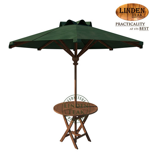 Handcrafted Solid Teak Wood ECO Fixed RoundTable w/ Foldable UmbrellaFurniture