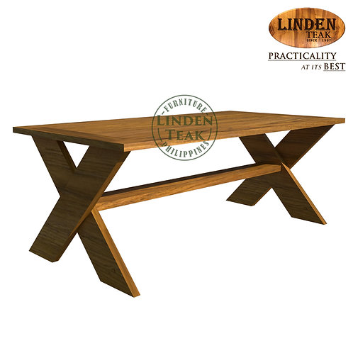 Handcrafted Solid Teak Wood Cross Slotted Sofa Center Table Furniture