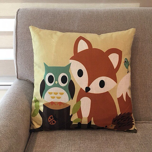 RIFU Fox and Owl Pillow with Filler