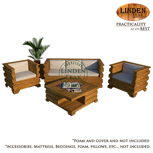Handcrafted Solid Teak Wood Cube Sofa Set Furniture