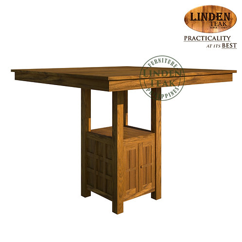 Handcrafted Solid Teak Wood Square Bar Table Furniture