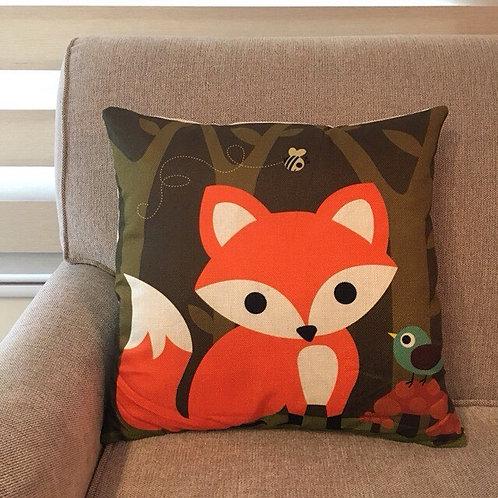 RIFU Fox and Bird Pillow with Filler
