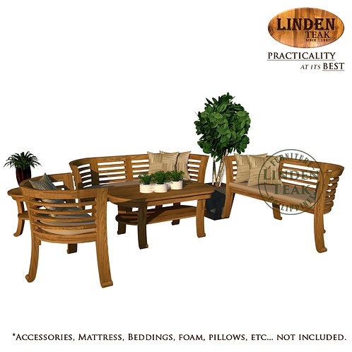 Handcrafted Solid Teak Wood Chantik Solid Top Sofa Set Furniture
