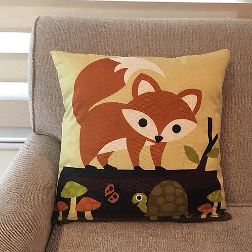 RIFU Fox and Turtle Pillow with Filler