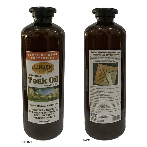 Linden Teak All Organic Teak Oil 500mL for Natural Outdoor Furniture Maintenance