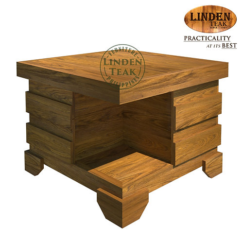 Handcrafted Solid Teak Wood Cube Side Accent Table with DrawersFurniture