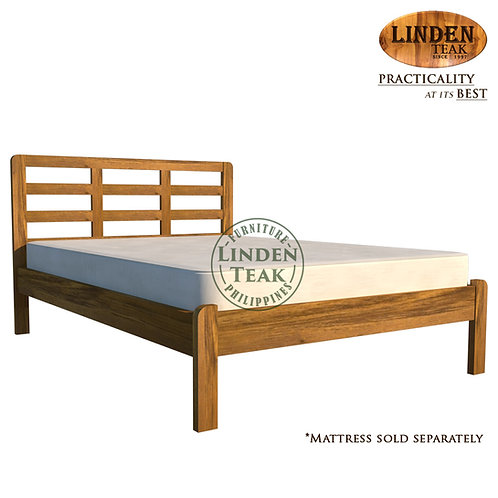 Handcrafted Solid Teak Wood Simple Bed Frame Double Size Furniture