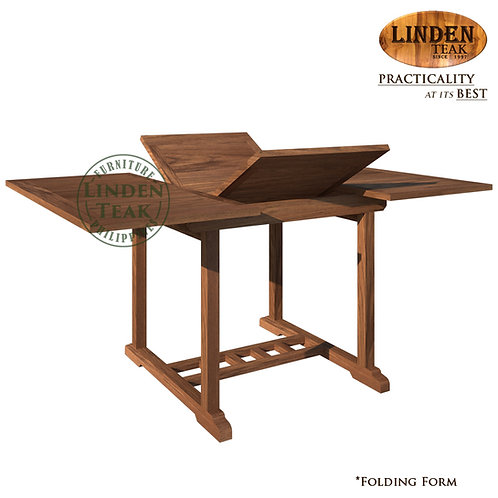Handcrafted Solid Teak Wood Square to Rectangular Extendable Table Furniture