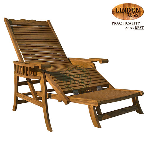 Handcrafted Solid Teak Wood GT Lazy Chair with Bottle Holder with Foot Support
