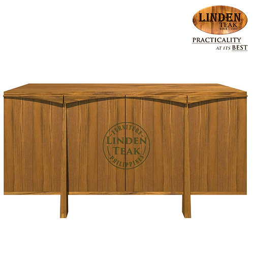 Handcrafted Solid Teak Wood Double-TBuffet Table Furniture