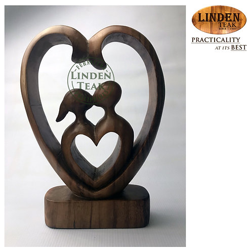 Handcrafted Solid Wood Double Heart  Sculpture Decor Figurine