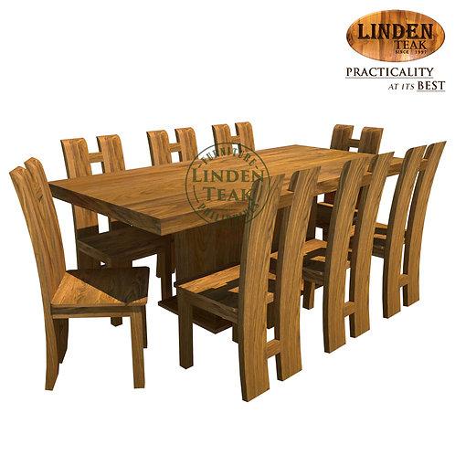 Handcrafted Solid Teak Wood Rectangular Center - Minimalist Dining Set