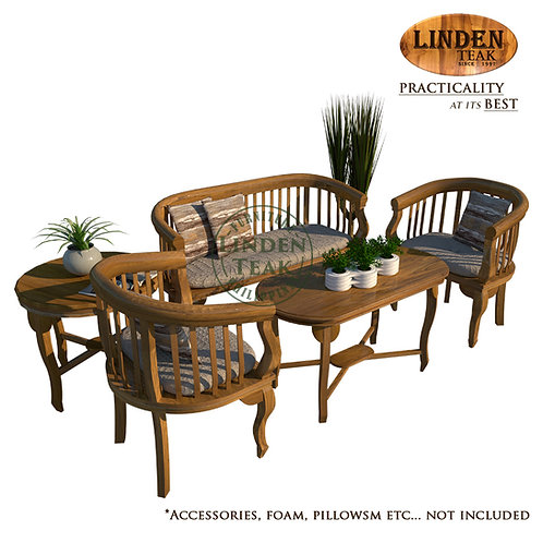 Handcrafted Solid Teak Wood Petite Lenong Sofa Set Furniture (Not for heavy use)