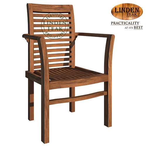 Handcrafted Solid Teak Wood ECO Stackable Chair Furniture with Arm