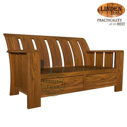 Handcrafted Solid Teak Wood Minimalist 2 Seater Sofa Furniture