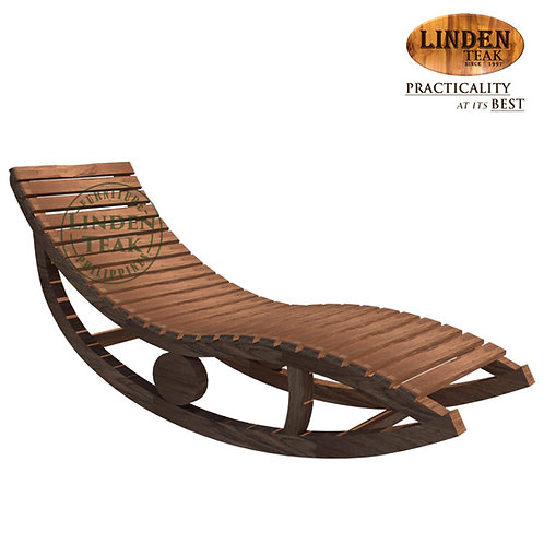 Handcrafted Solid Teak Wood ECO Laying Rocking Chair Furniture
