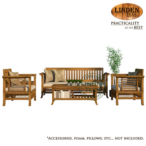Handcrafted Solid Teak Wood 092 Sofa Set Furniture