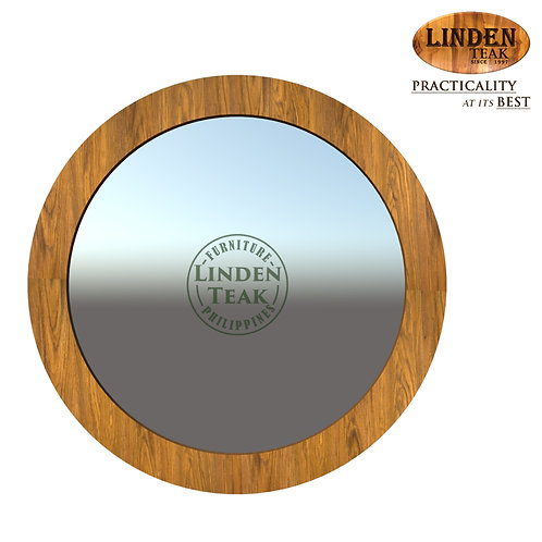 Handcrafted Solid Teak Wood Big Round Jasmine Mirror Furniture