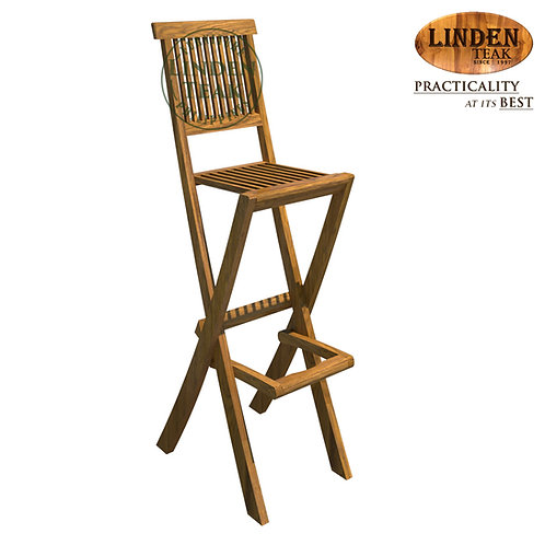 Handcrafted Solid Teak Wood Petite Folding Bar Chair Furniture-NOT FOR HEAVY USE