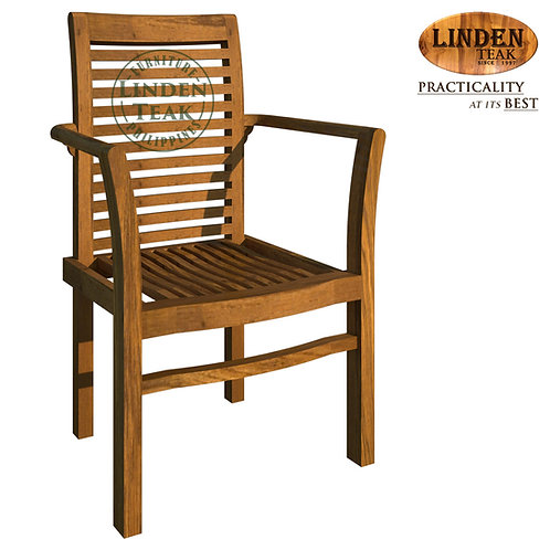 Handcrafted Solid Teak Wood GT Stackable Chair Furniture with Arm