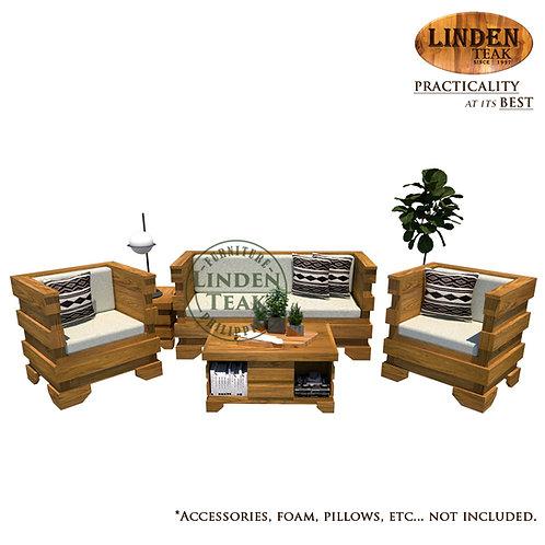 Handcrafted Solid Teak Wood New Cube Sofa Set Furniture