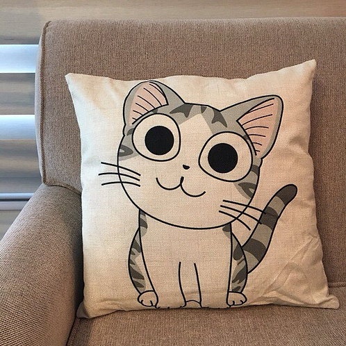 RIFU Smiling Kitty Pillow with Filler