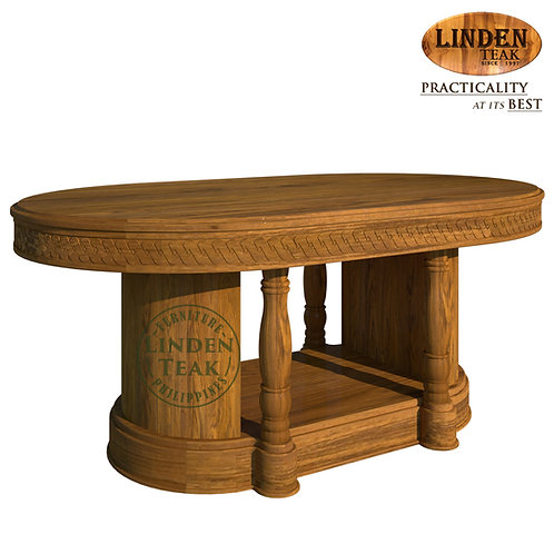 Handcrafted Solid Teak Wood Salina-180 Oval Dining Table Furniture