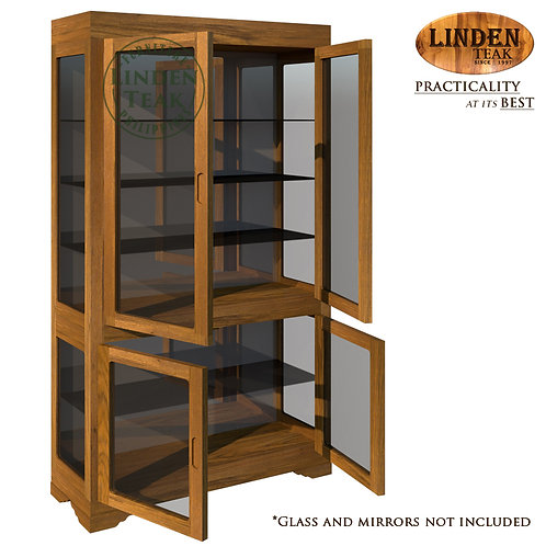 Handcrafted Solid Teak Wood Display Cabinet Furniture