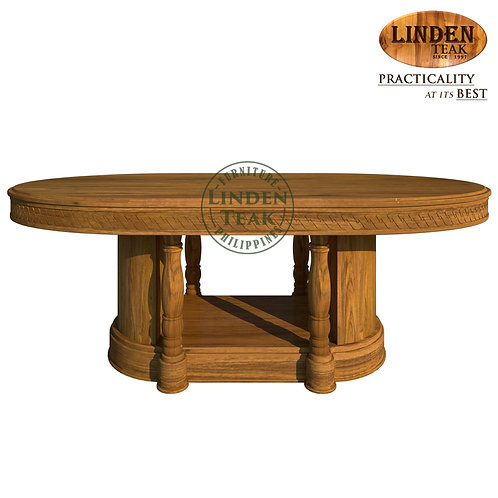 Handcrafted Solid Teak Wood Salina-220 Oval Dining Table 220x100x77cm Furniture