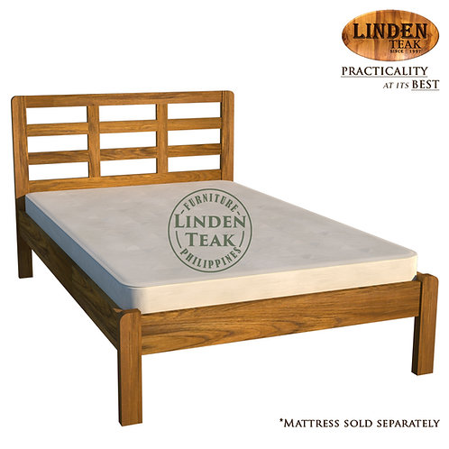 Handcrafted Solid Teak Wood Simple Bed Frame Twin Size