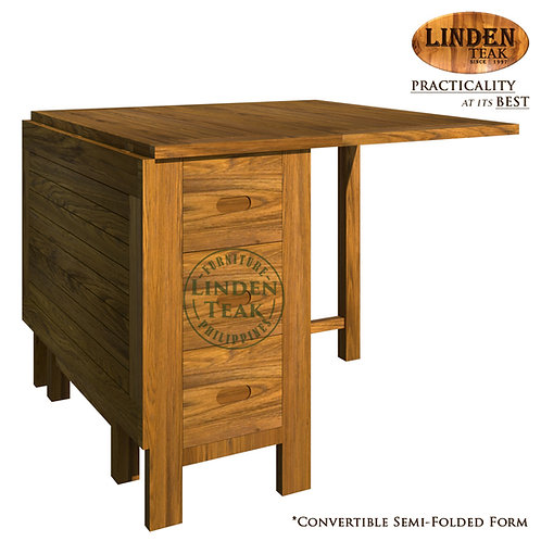 Handcrafted Solid Teak Wood Rectangular Folding Table with 6 Drawers Furniture