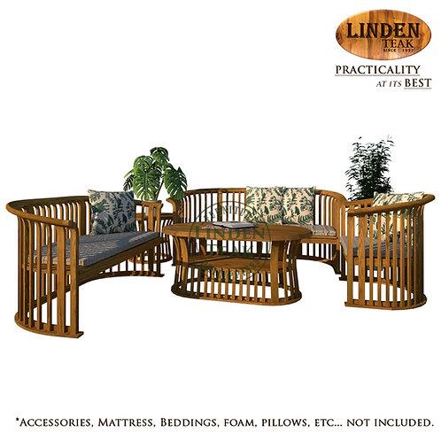 Handcrafted Solid Teak Wood Basket Solid Top Sofa Set Furniture