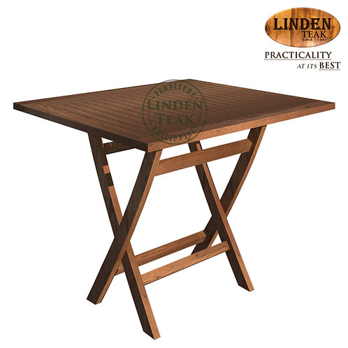 Handcrafted Solid Teak Wood  ECO Folding Base Square-90 Dining Table Furniture