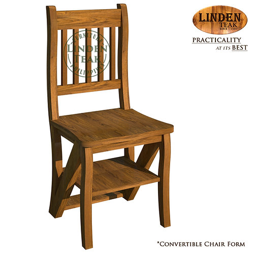 Handcrafted Solid Teak Wood Convertible Ladder Chair Furniture