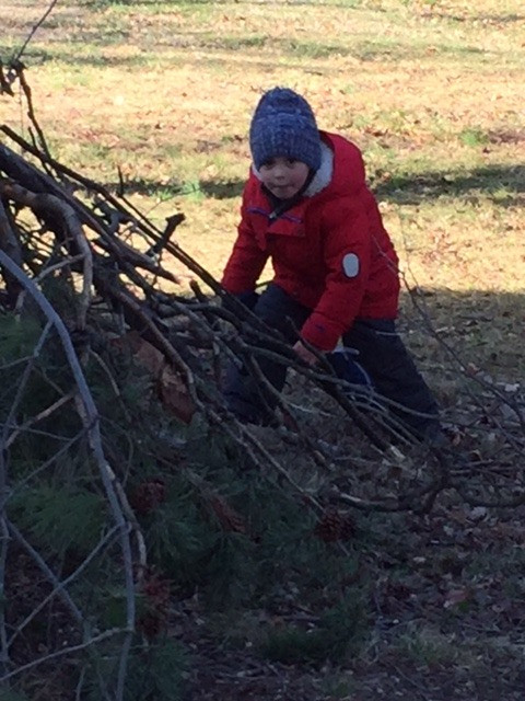 Child building a fort with sticks