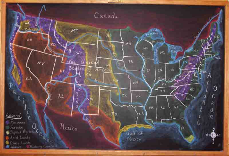 Chalkboard Drawing of United States