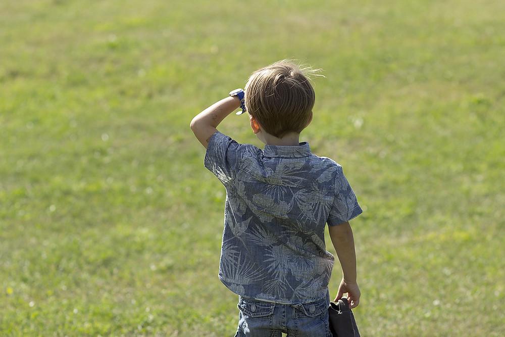 Boy looking out across grassy field
