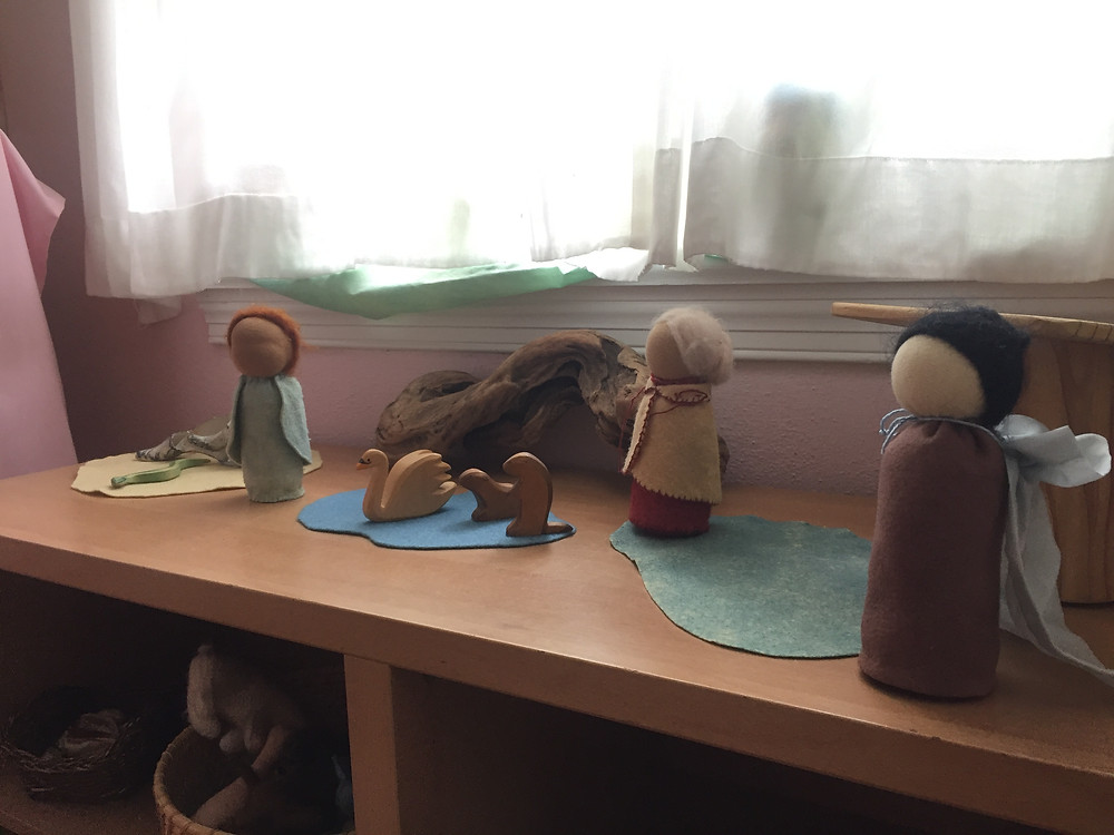 Play scene with handmade puppets and wooden figures