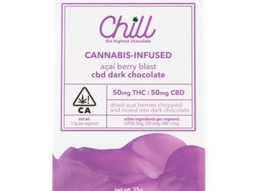 Chill CBD 1:1 Acai Berry Blast Dark Chocolate 50 mg
