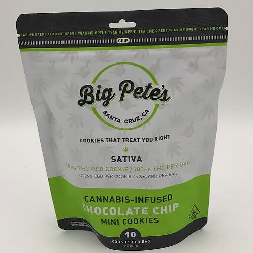 Chocolate Chip Cookies 100mg 10 Pack Sativa by Big Pete's Treats