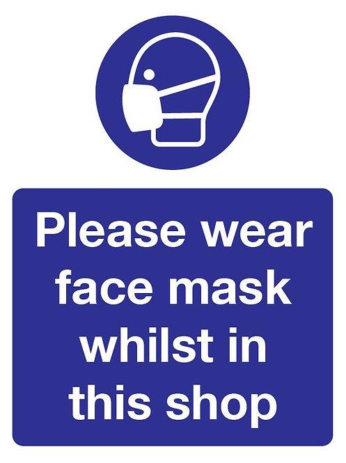 Please Wear Face Mask In Shop