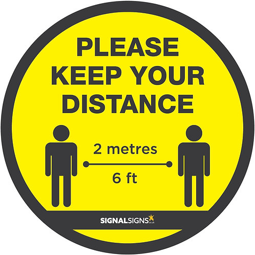 COVID-19 Please Keep Your Distance Floor Graphic 300mm x 300mm
