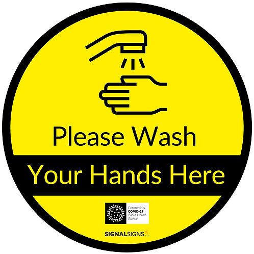 Please Wash Hands Here Floor Graphic