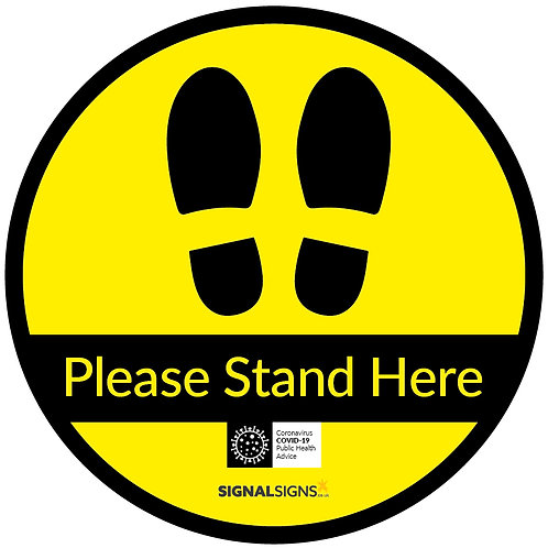 Please Stand Here Footprints Floor Graphic