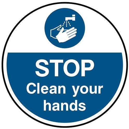 Stop Clean Your Hands Floor Graphic 300mm x 300mm (Floo0010)