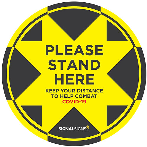 COVID-19 Please Stand Here Floor Graphic 300mm x 300mm