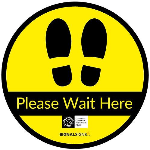 Please Wait Here Footprints Floor Graphic