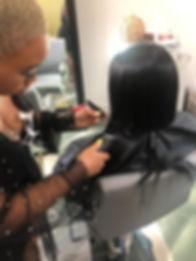 Haircut in progress