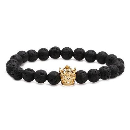 Bracelet en véritable pierre de lave couronne acier couleur or